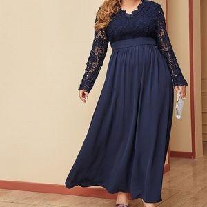 SHEIN Navy Blue Lace Bodice Dress Open Back Dress